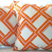 "Decorative Designer Pillow cover -  Orange, Fuschia and white - ""18x18"" pillow cover"