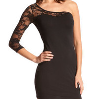 Lace-Inset One Shoulder Dress