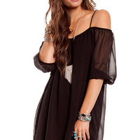 Amerie Off Shoulder Dress in Black :: tobi