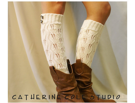 Open Crochet Knit Leg Warmers / Womens From Studio Catherine Cole