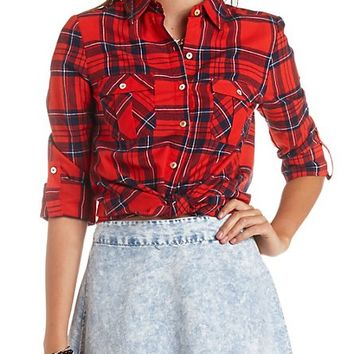 LONG SLEEVE PLAID FLANNEL BUTTON-UP TOP