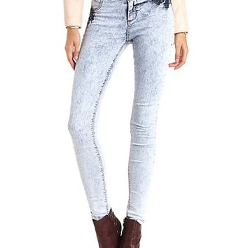 HIGH WAISTED ACID WASH SKINNY JEANS WITH TACKING
