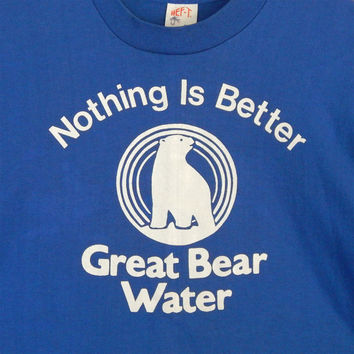 Authentic Vintage 1980s Great Bear Water Logo T Shirt Long Sleeves Great Shape Medium