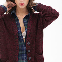 FOREVER 21 Marled Knit Button-Front Cardigan Navy/Black