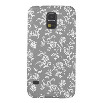 Damask Gray Floral Pattern Samsung Galaxy S5 Case