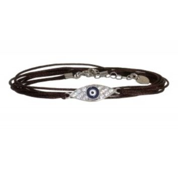 SKU Jewelry Brown Cord Wrap Silver Evil Eye Bracelet