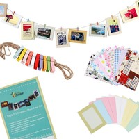 "Bundle Monster Wall Deco DIY Paper Photo Frame with Mini Clothespins and Stickers - Fits 4""x 6"" Pictures:Amazon:Home & Kitchen"