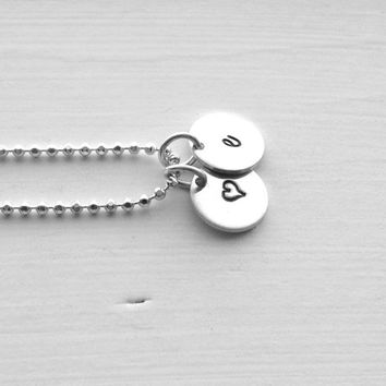 Personalized Heart Necklace, Sterling Silver Jewelry, Initial Necklace with Heart, Hand Stamped Jewelry, Monogram Necklace, e Necklace, e