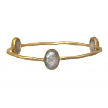 Gold Plated Bangle with Oval Shaped Labradorite Stone
