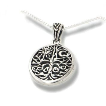 """Celtic Tree of Life Art Symbol with Sun and Moon Sterling Silver Pendant with 18"""" Necklace:Amazon:Jewelry"""
