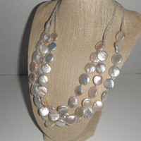 White Flat Coin Pearl Triple Strand Coin Pearl Necklace Gift Matching Earrings fashion under 60