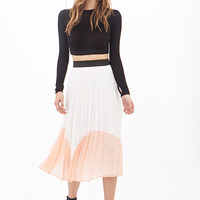 Accordion-Pleated Colorblock Midi Skirt