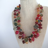 Crackle Crystal Triple Strand Pink Magenta Green Yellow Necklace Gift fashion under 50