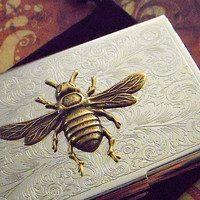 Business Card Case Bee Case Brass & Silver Vintage Style Steampunk Gothic Victorian Scroll Pattern Metal Card Holder