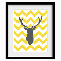 Deer Antlers Chevron Wall Art Print  Modern Home Decor Yellow and Grey Zigzag