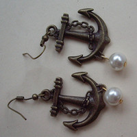 vintage style antiqued brass Sailor anchor earrings, with faux pearl