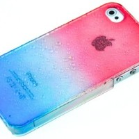 HB iPhone 5S / iPhone 5 Transparent Gradient Water drop / Raindrop Design Hard Skin Case / Cover / Shell (Hot pink and Blue)