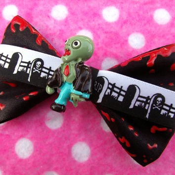 Zombie Dripping Blood Horror Hair Bow