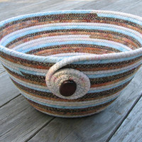 Striped Coiled Fabric Bowl, Basket