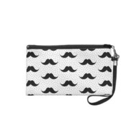 Mustaches Pattern White Wristlet Clutch