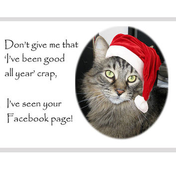 Catty Cards Christmas Cards. Tabby Cat in Santa Hat Blank Greeting Cards. Holiday Card with Cat. Merry Christmas Card for Cat Lover Pet Love