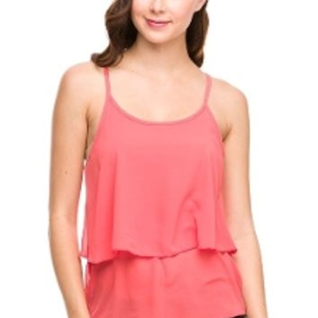 Chic Chiffon Top in Coral