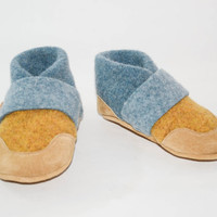 Kids Shoes, Toddler Slippers, from Recycled Wool & Non Slip Suede Leather, kids size 7.0 - 11.5.   Smooth Walking!