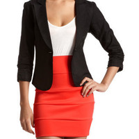 Ruched-Sleeve Linen Blazer