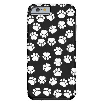 Dog Paws, Traces, Paw-prints - White Black