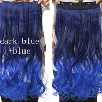 Dark Blue & Blue Ombre Hair Extensions - Clip in - Wavy - Cosplay Hair Extensions