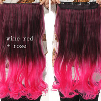 Wine Red & Rose Ombre Hair Extensions - Clip in - Wavy - Cosplay Hair Extensions