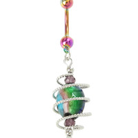 14G Steel Rainbow Stone Wrap Navel Barbell