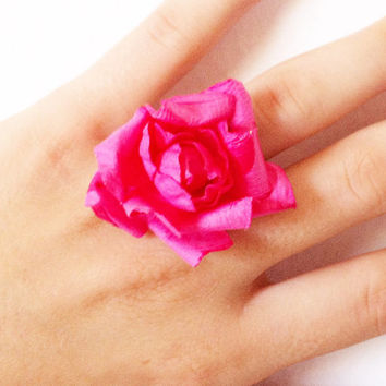 Big Floral Ring, Large Flower Ring, Paper Flower Jewelry, Adjustable Pink Rose Ring, Fits Most.