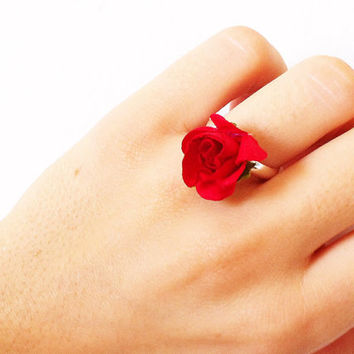 Floral Ring, Flower Ring, Paper Flower Jewelry, Adjustable Red Rose Ring, Fits Most.