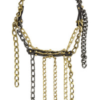 Lanvin - Gold-tone, leather and Swarovski crystal necklace