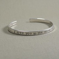 Sterling silver love you to the moon and back cuff bracelet