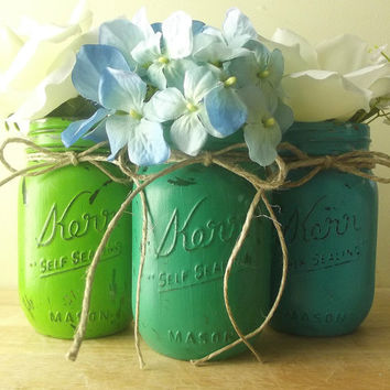 Three, Green and Blue Hand Painted Mason Jars | Rustic - Style Home Decor, Painted Mason Jars