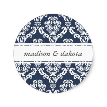 Damask Navy White Personalized Wedding Stickers