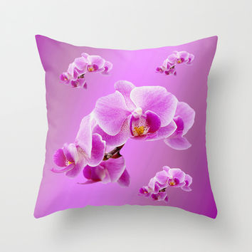 Radiant Orchids Throw Pillow by Erika Kaisersot