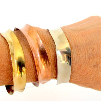 Three anticlastic cuffs, three metal arm bands, artisan tribal bangle bracelets, modern metal jewelry