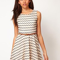 River Island Zig Zag Textured Skater Dress at asos.com