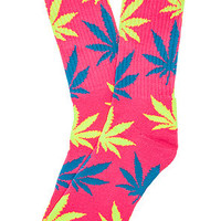 The Plantilife Crew Socks in Neon Pink