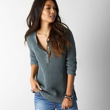 AEO Henley Sweater, Mint Marl   American Eagle Outfitters