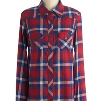 ModCloth Long Long Sleeve Button Down Craft Cider Tasting Top in Red