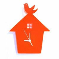 Orange Bird House Wall Hanging Clock