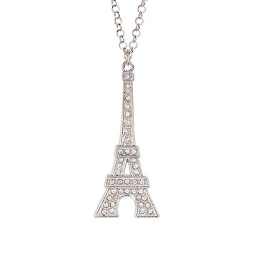 Pavé Eiffel Tower Long-Strand Necklace