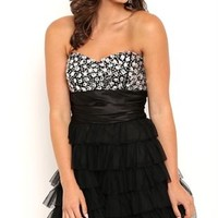 Jeweled Strapless Short Homecoming Dress with Cupcake Skirt
