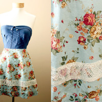 LAST ONE 40off / Floral Strapless Sundress with Denim Corset Style Bodice (S,M,L)