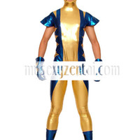 Catsuits & Zentai Gold Blue And Black Shiny Metallic Super Hero Zentai Suit [TZK25031] - $34.99