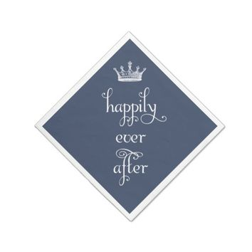 Navy Happily Ever After Crown Napkins